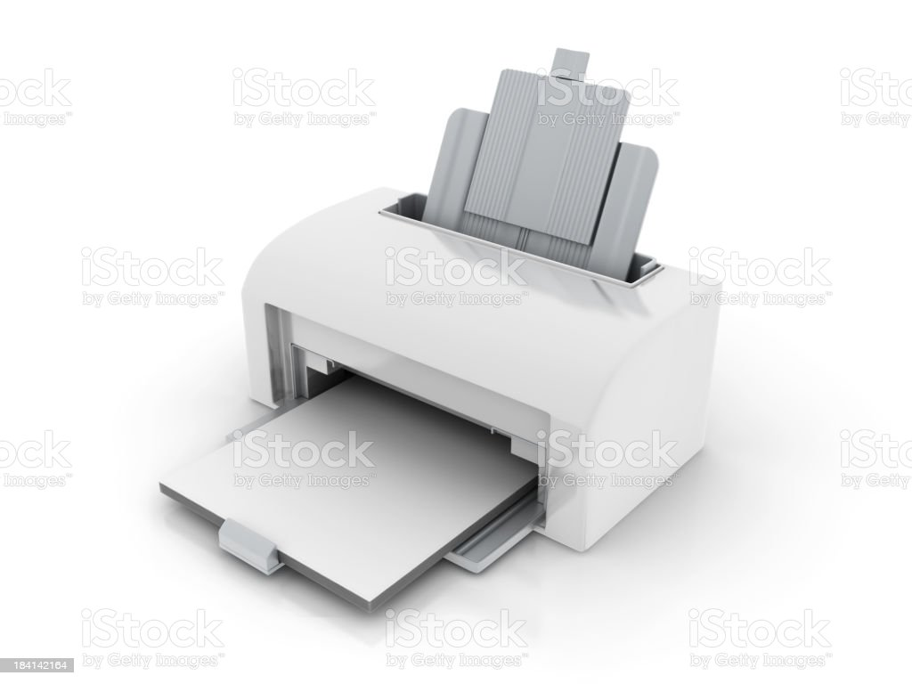 A white laser printer with no writing stock photo
