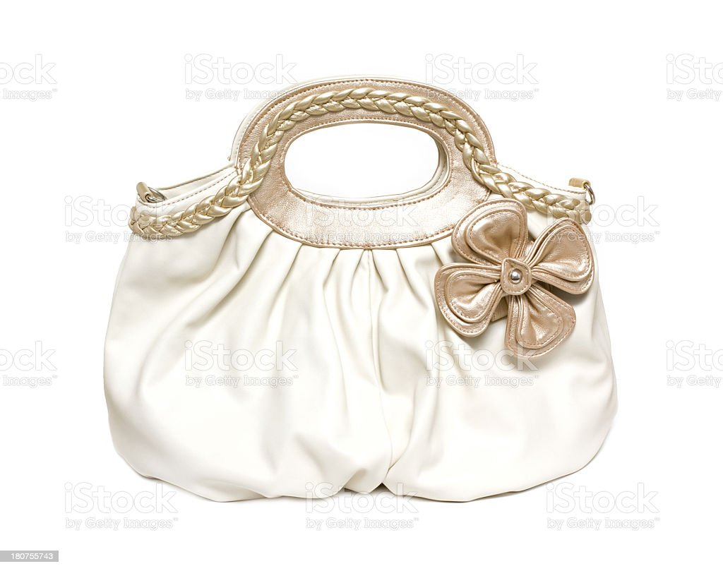 White leather handbag isolated on white background royalty-free stock photo