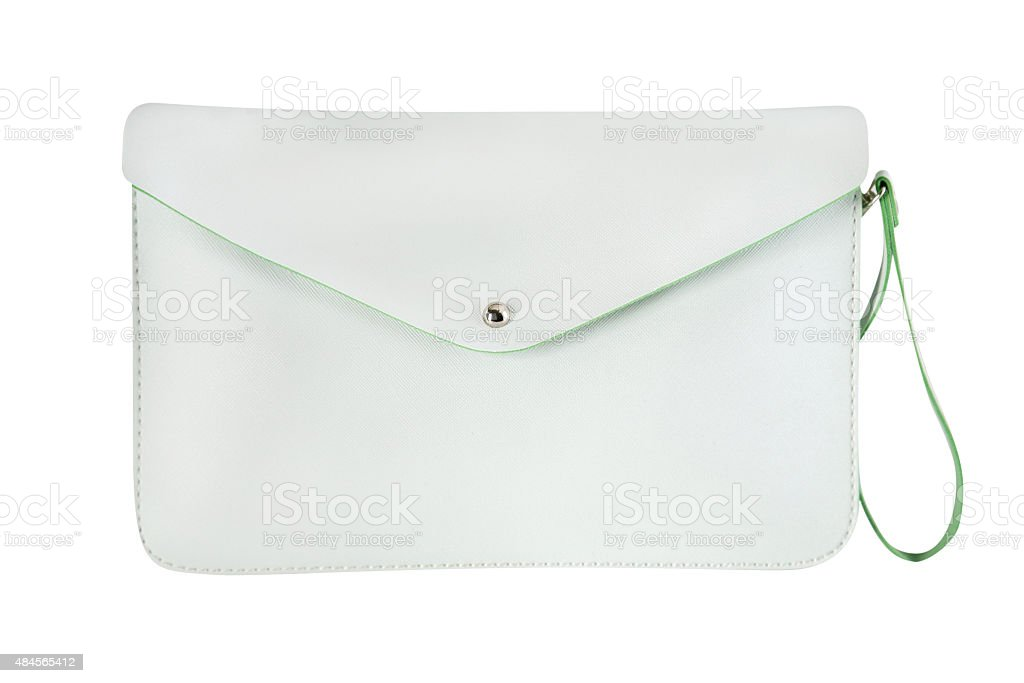 White leather purse stock photo
