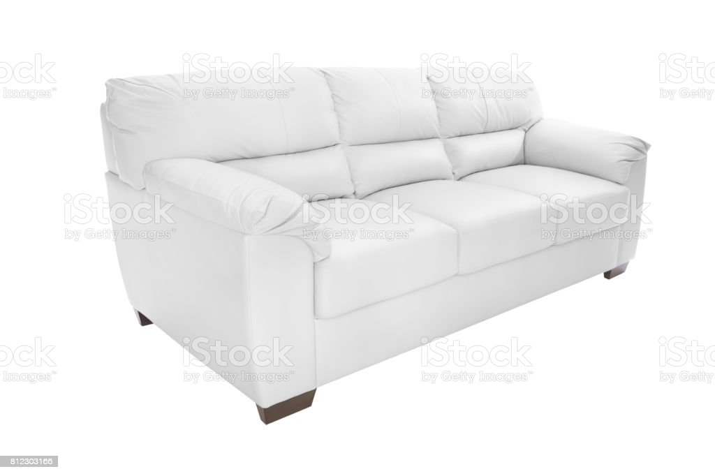 white leather sofa stock photo