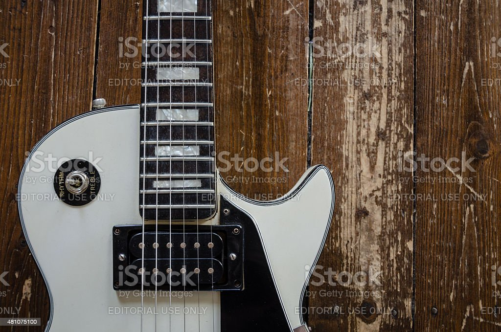 White Les Paul Custom Guitar stock photo