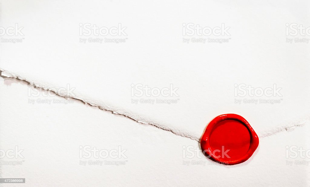 White letter with red sealing wax stock photo
