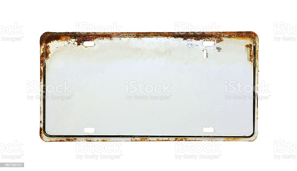 White License Plate stock photo