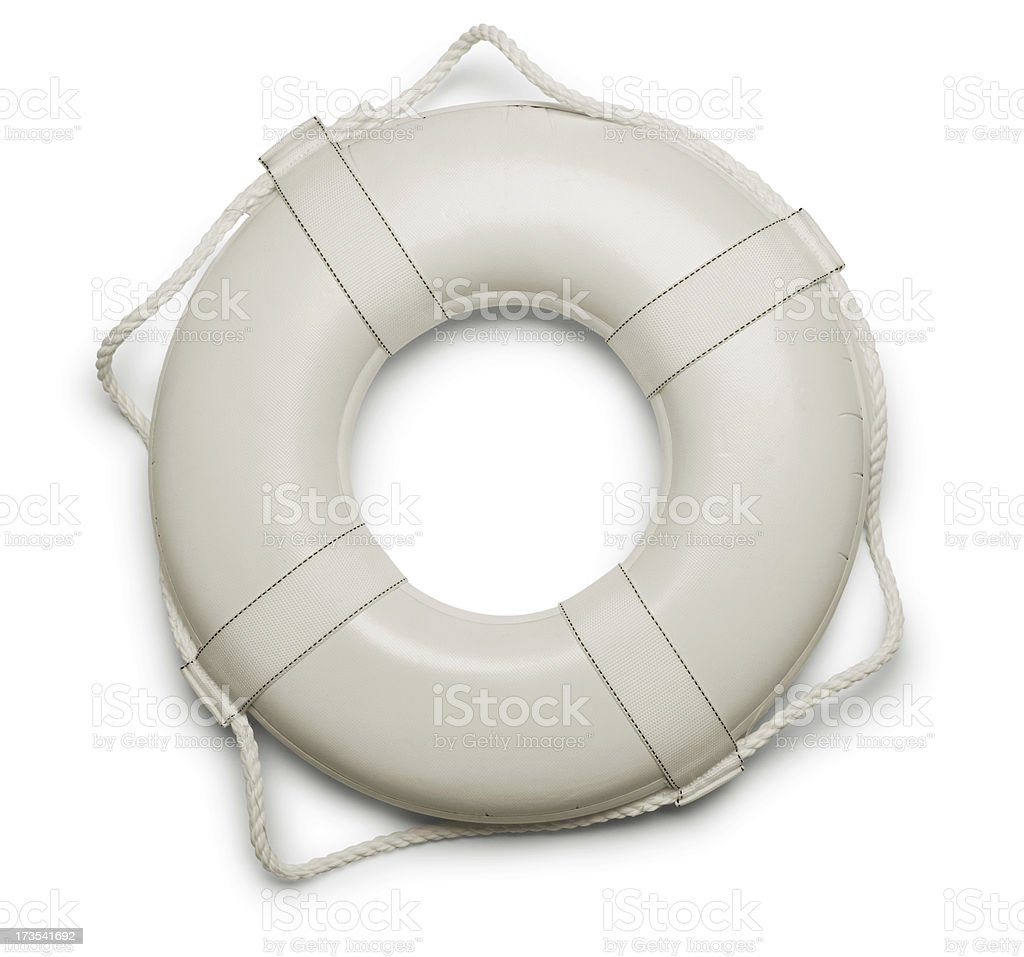 White lifepreserver isolated on a white background royalty-free stock photo
