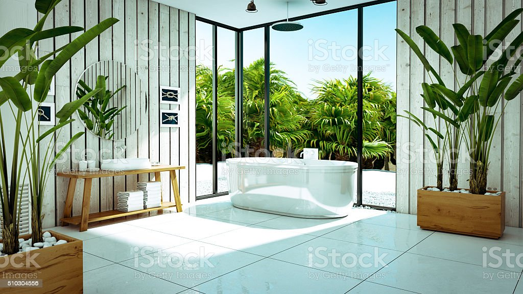 White light bathroom with plants and themes sailor stock photo