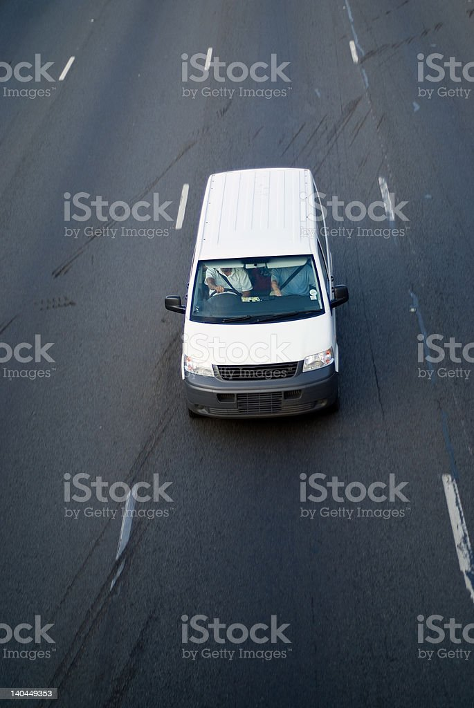White light delivery truck on highway royalty-free stock photo