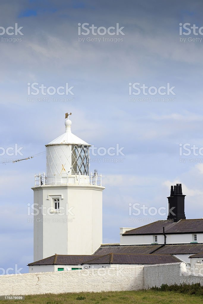 white lighthouse at The Lizard in Cornwall stock photo
