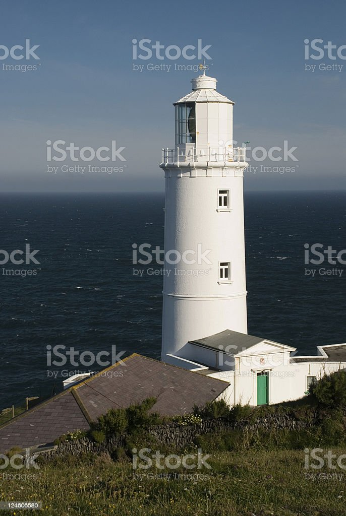 White lighthouse at Trevose Head Cornwall stock photo