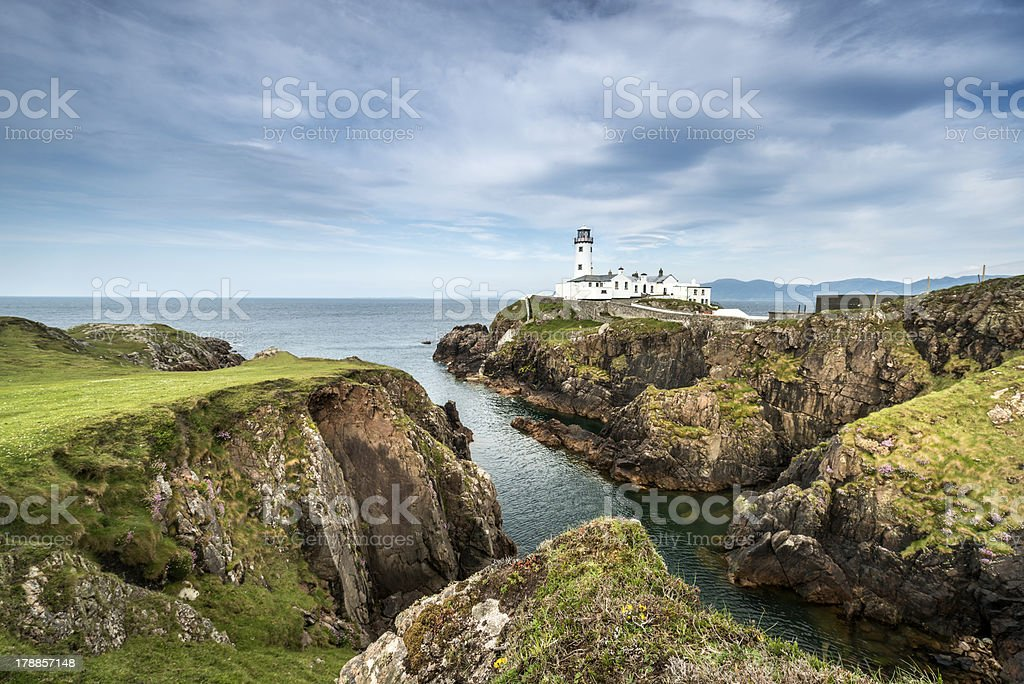White Lighthouse, Fanad Head, North Ireland stock photo