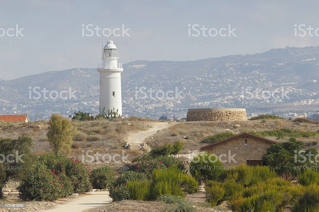 white lighthouse in Paphos archaeological site Cyprus royalty-free stock photo