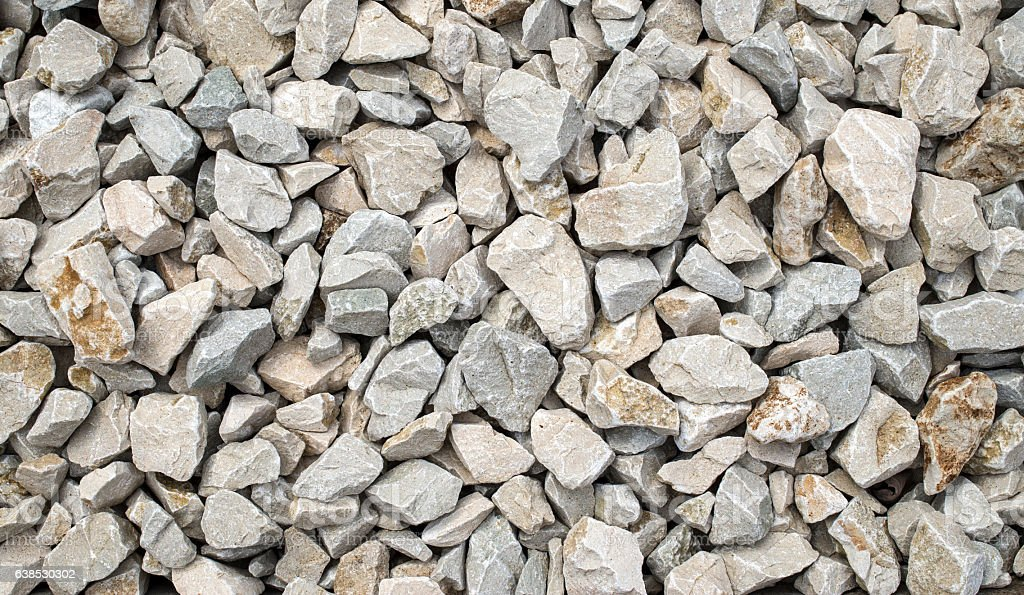 White limestone gravel closeup stock photo