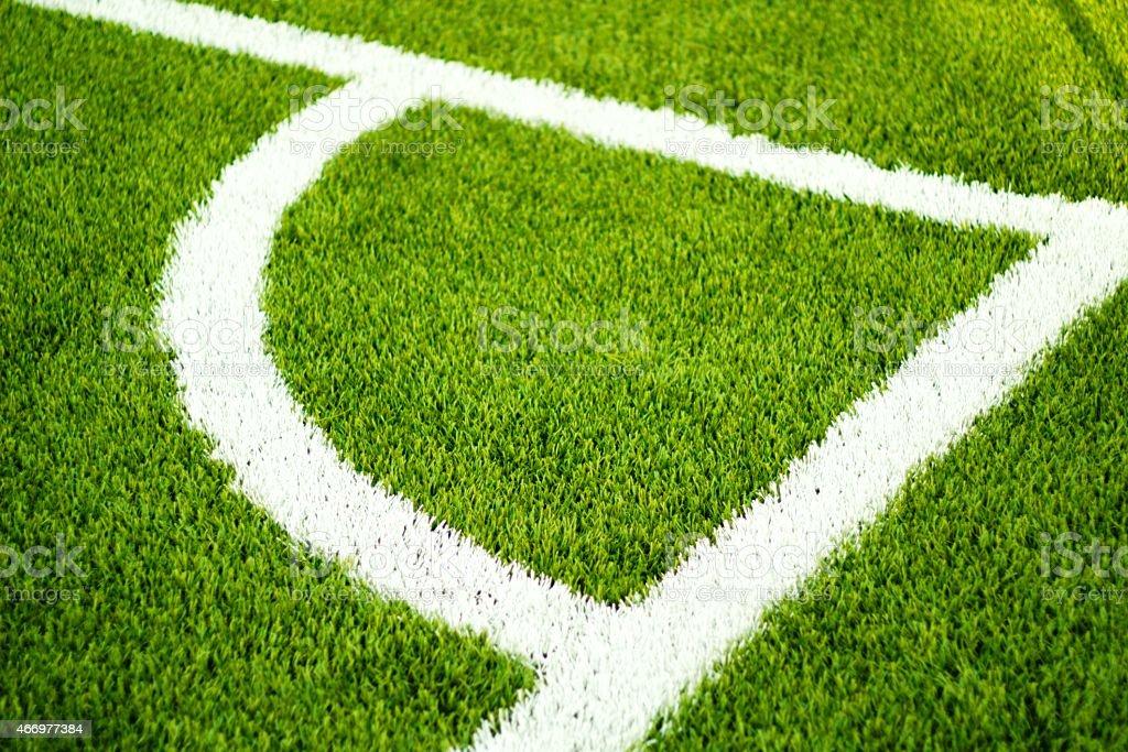 White line conner on football field. vector art illustration