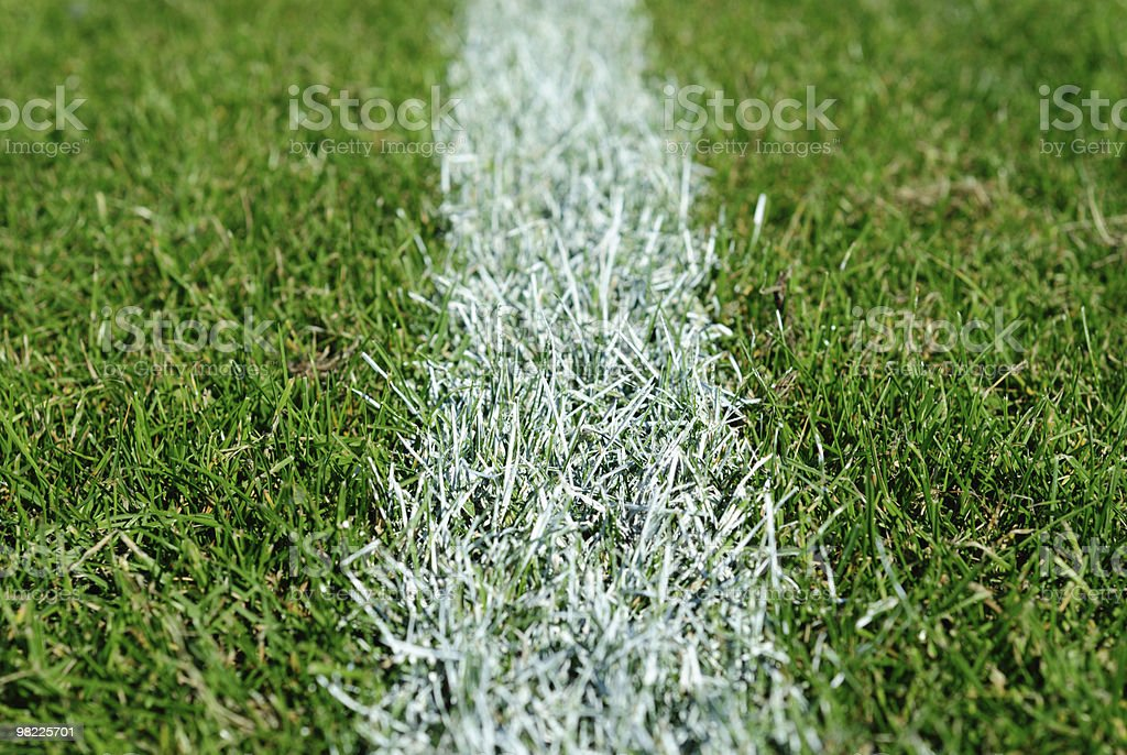 White line on a playing field stock photo