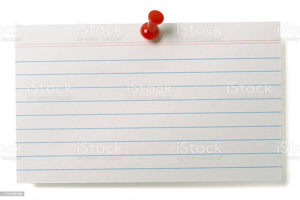 White lined index card isolated on white stock photo