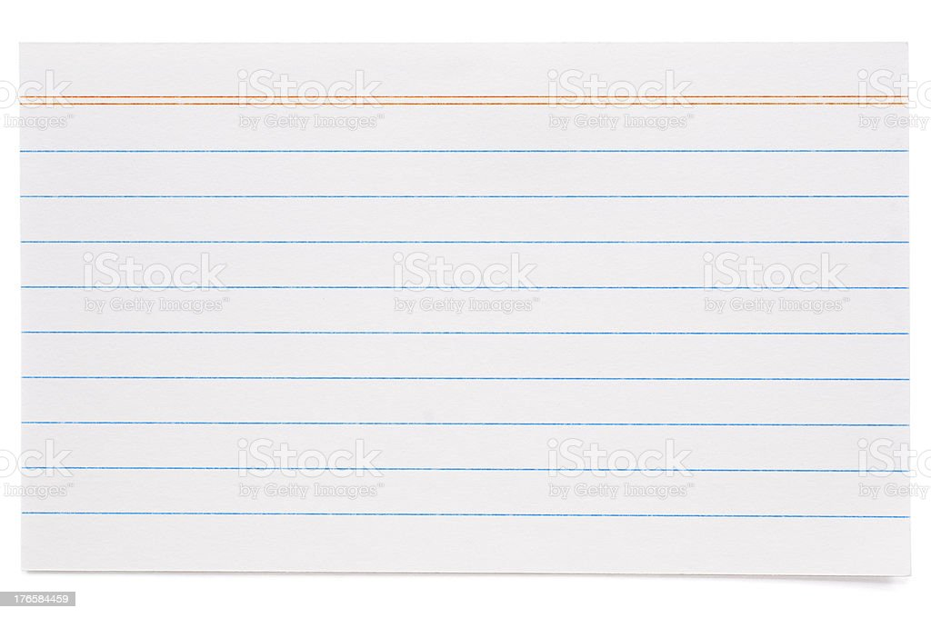 White lined index card royalty-free stock photo