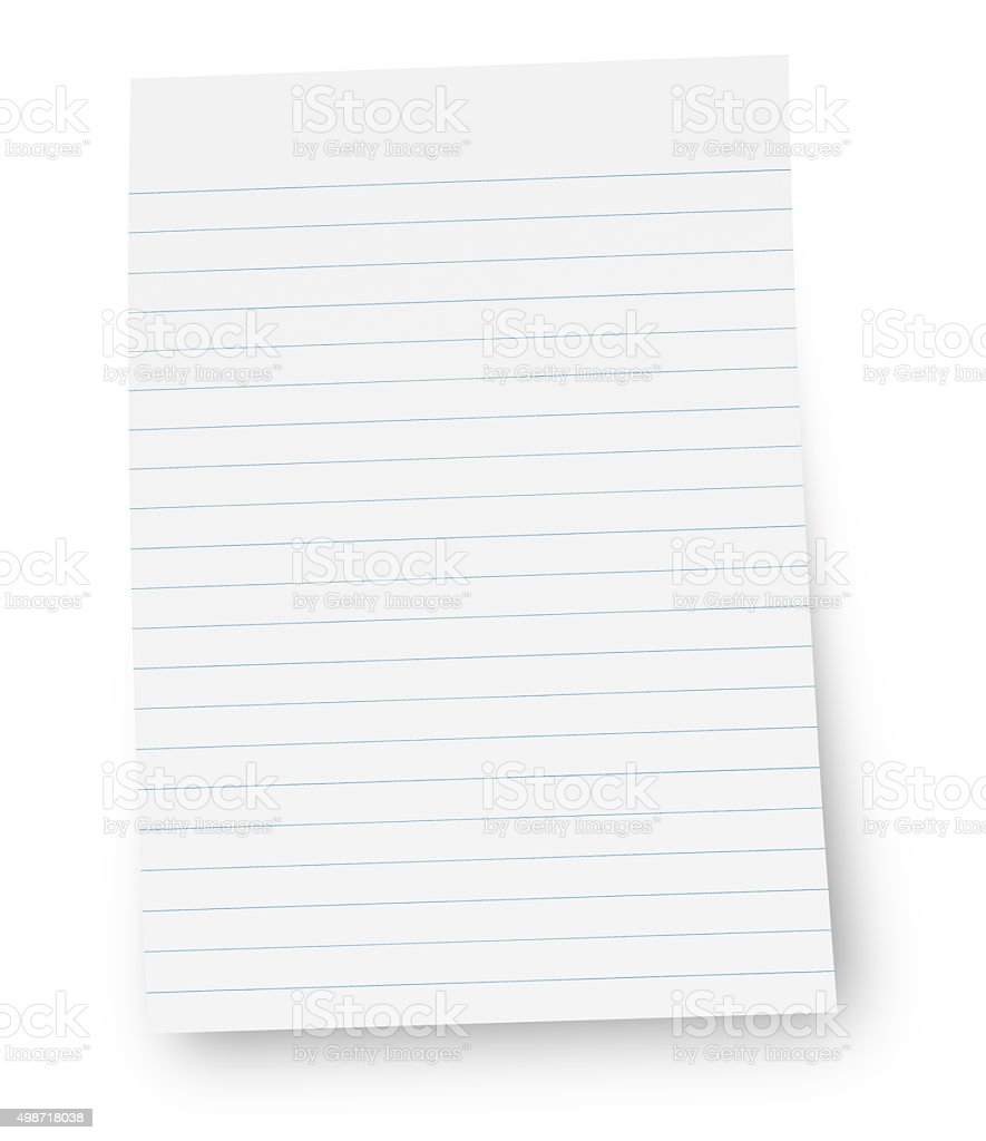 White lined note paper (with path) stock photo