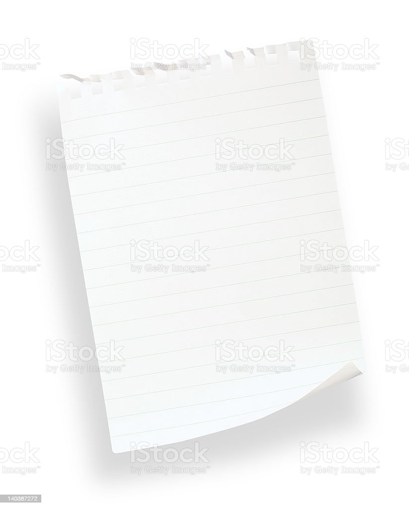 white lined paper(with clipping path) royalty-free stock photo