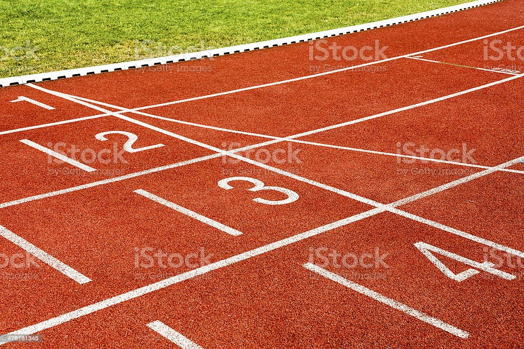 White lines and numbers on the stadiums track. royalty-free stock photo