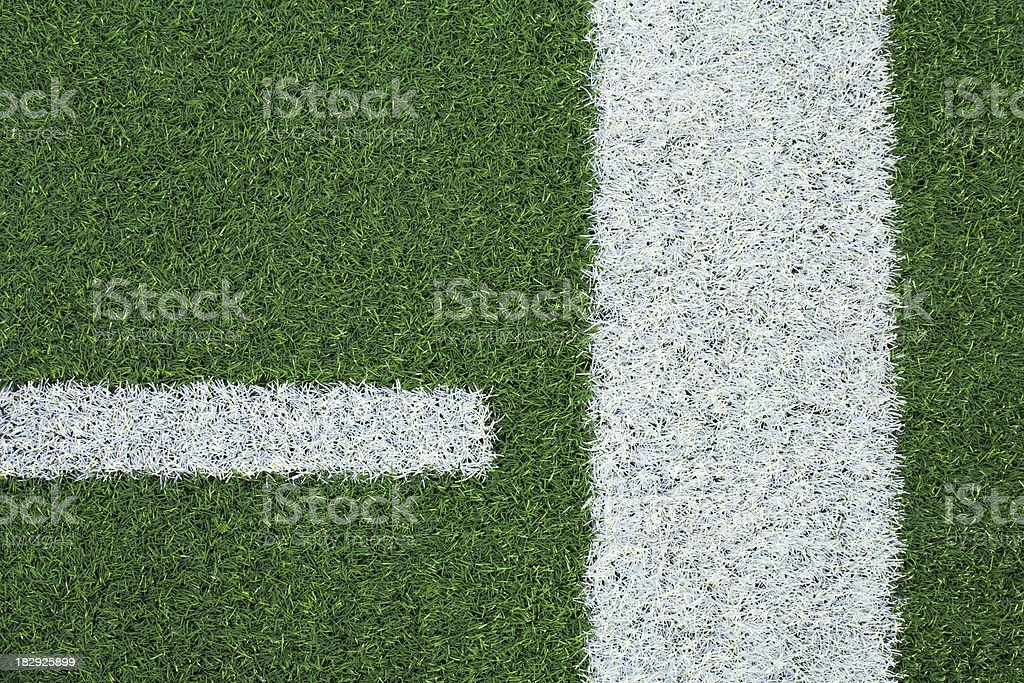 White Lines on Green Astroturf - Artificial Turf Background stock photo
