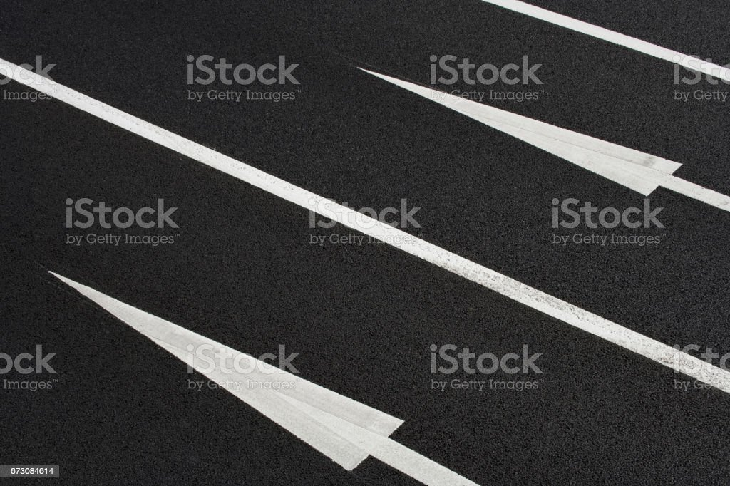 White lines on the road stock photo
