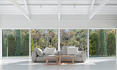 white living room and the garden