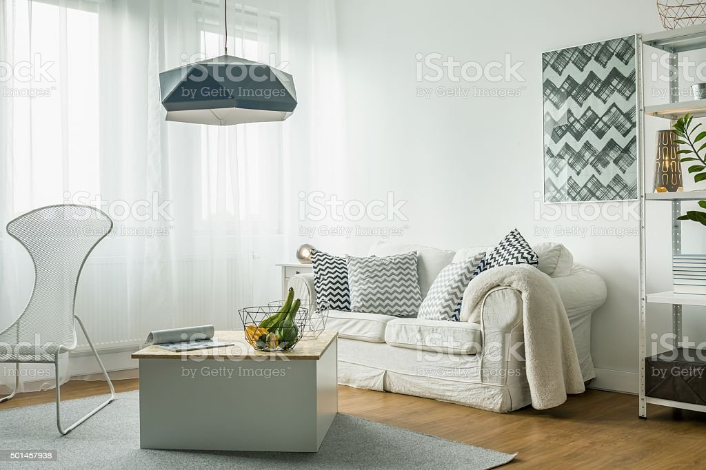 White living room idea stock photo