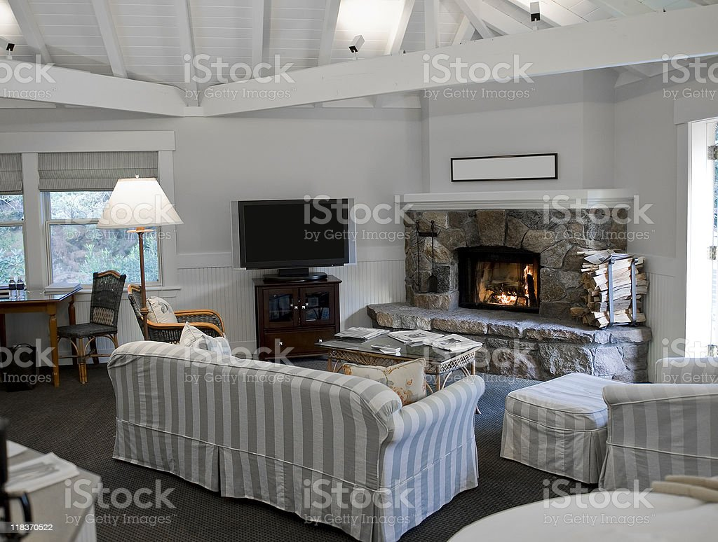 White Living Room with Fireplace royalty-free stock photo