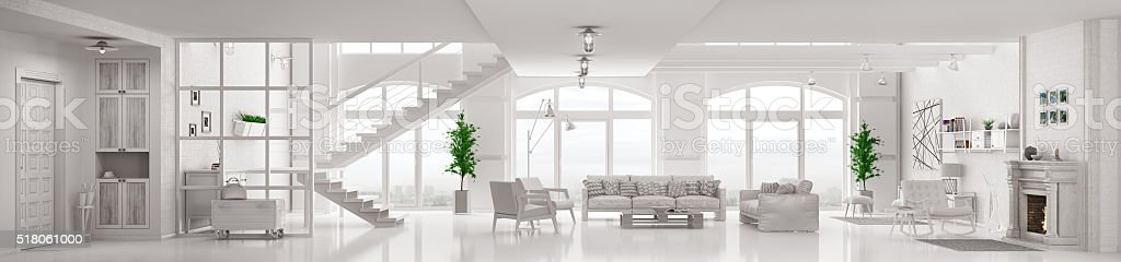 White loft apartment interior 3d rendering stock photo