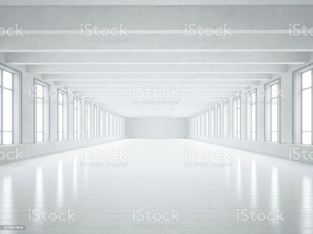 White loft interior stock photo