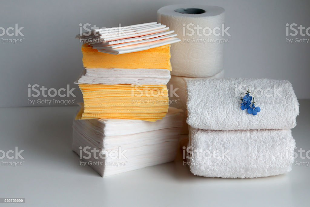 White loop towels, paper tissues, paper napkins, toilet paper stock photo
