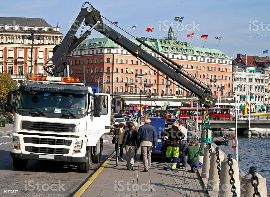 White lorry in Stockholm center royalty-free stock photo
