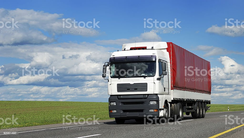 white lorry with red trailer royalty-free stock photo