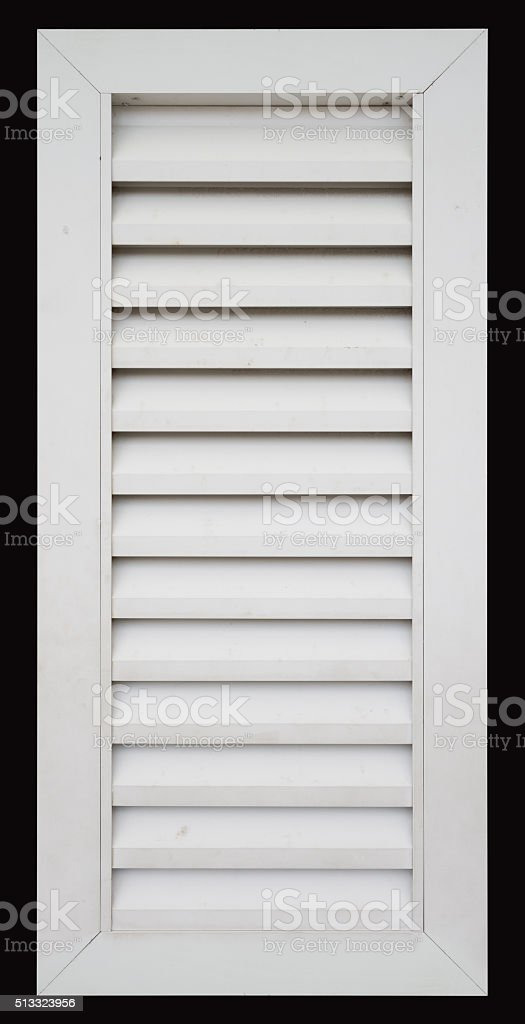 white louver window isolated stock photo
