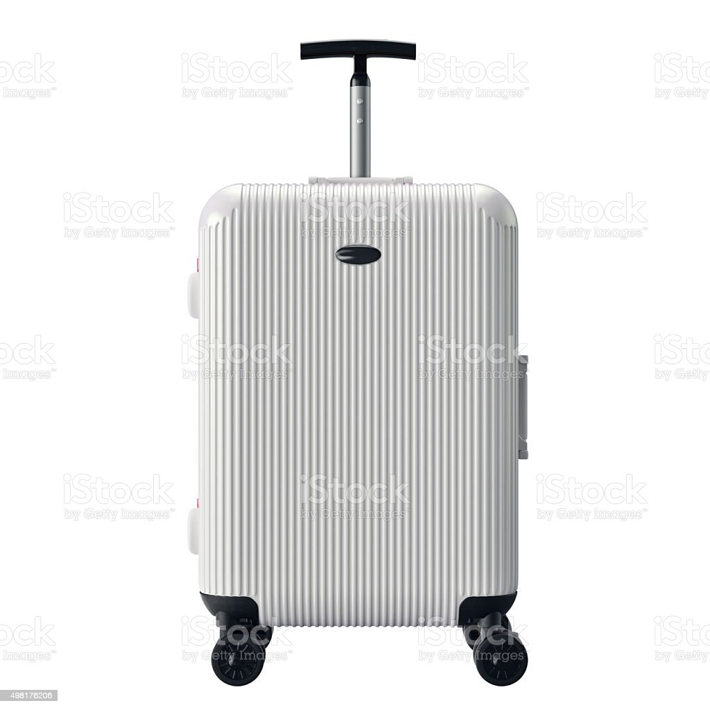 White luggage for travel, front view stock photo