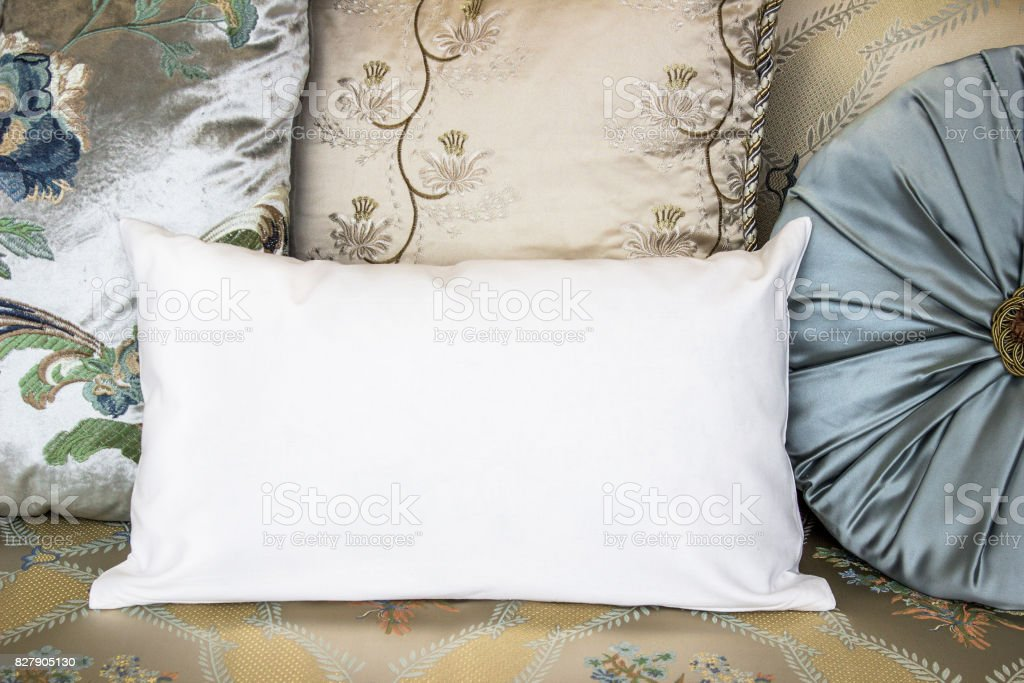 White lumbar pillow case Mockup. Interior photo stock photo