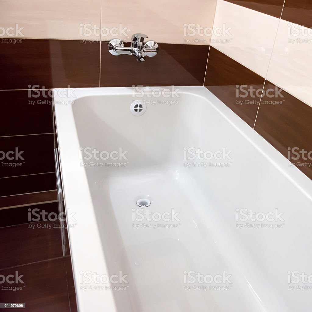 White luxury bathtub in bathroom stock photo