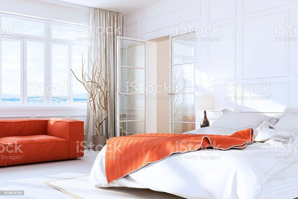 White Luxury Bedroom Interior stock photo