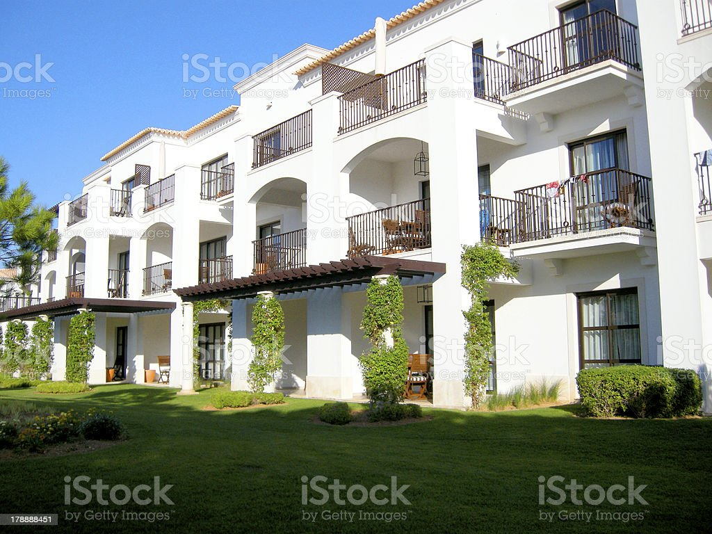 white luxury villa and lawn royalty-free stock photo