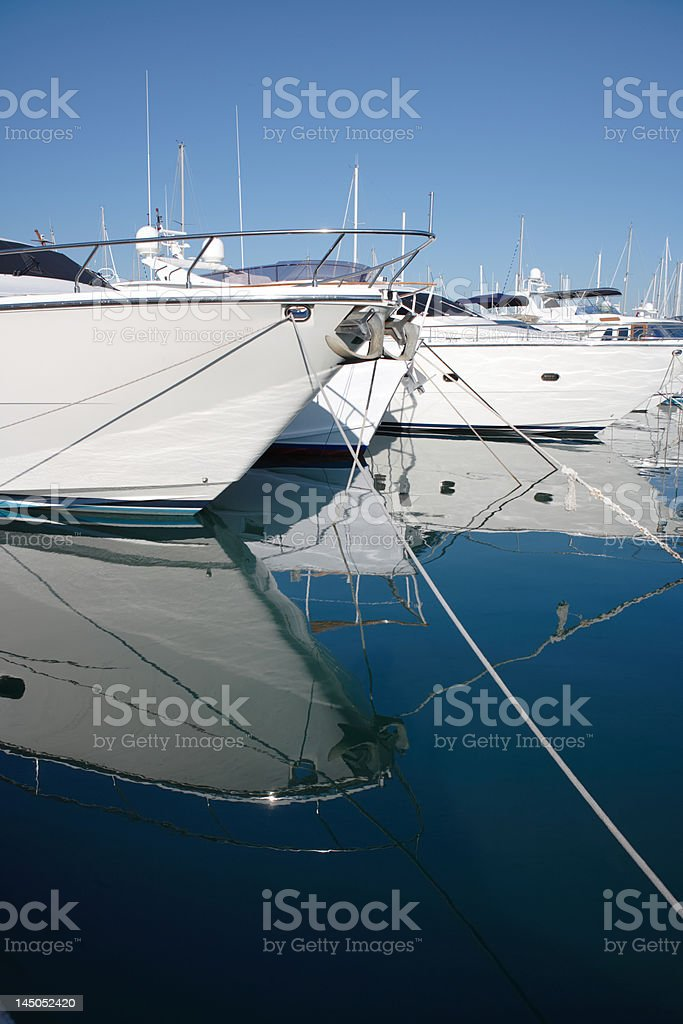 white luxury yachts moored at Antibes harbor, France stock photo