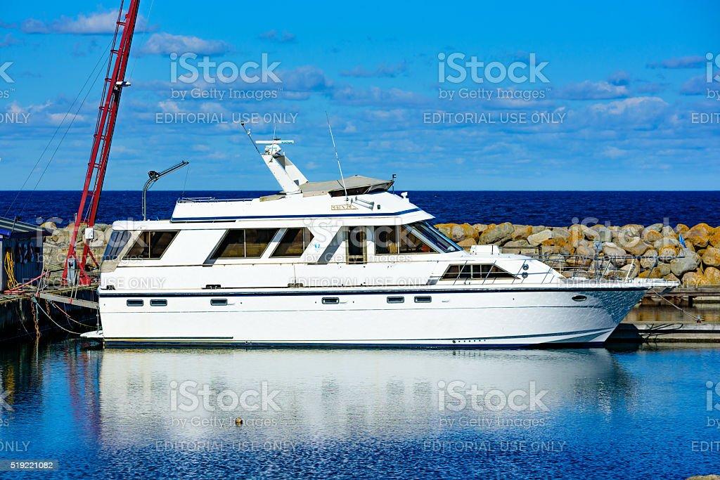White Magnum yacht stock photo