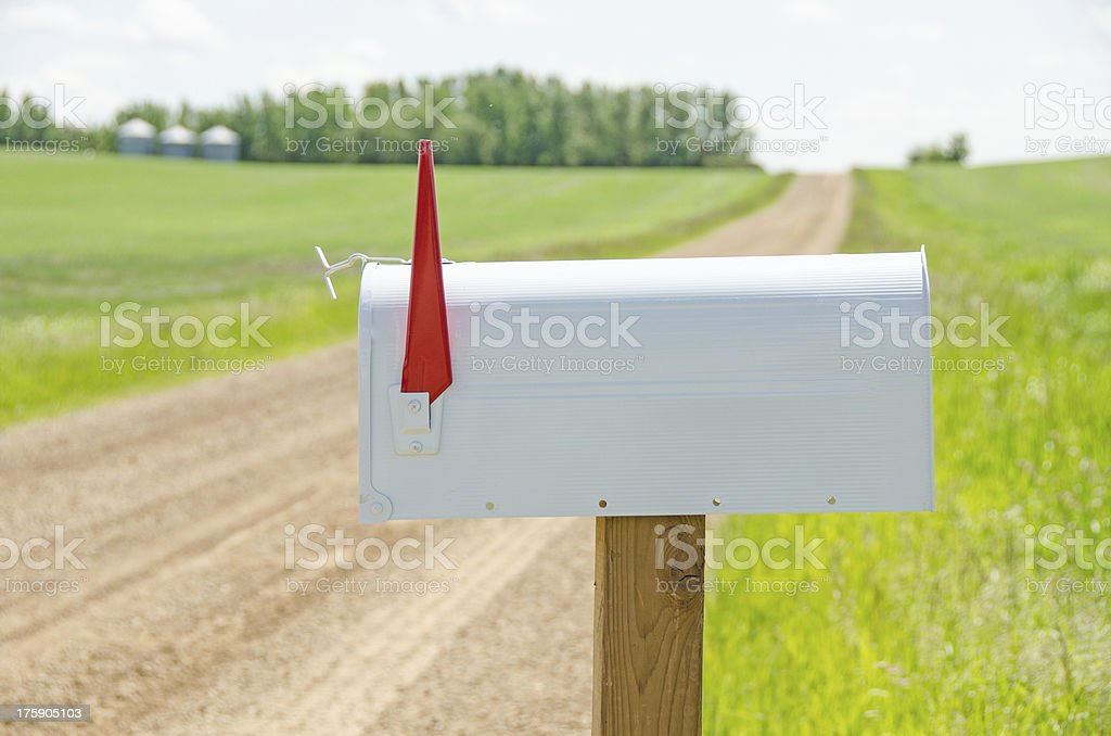 White Mailbox and Country Road royalty-free stock photo
