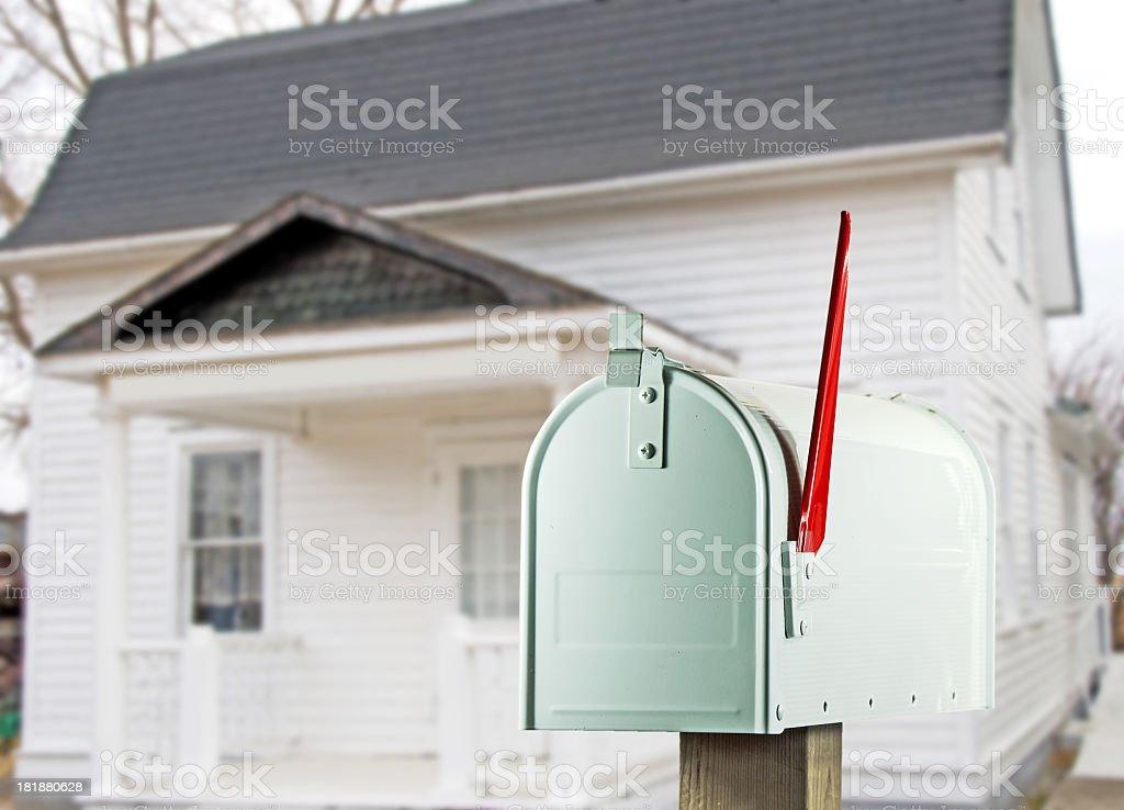 White Mailbox and Farmhouse royalty-free stock photo