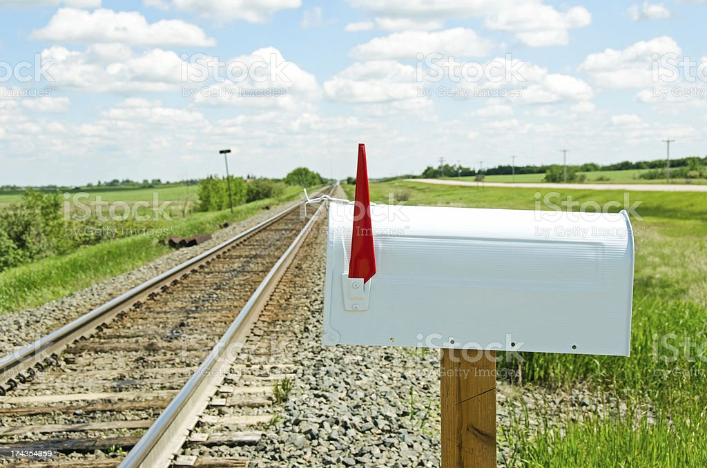 White Mailbox and Railroad royalty-free stock photo