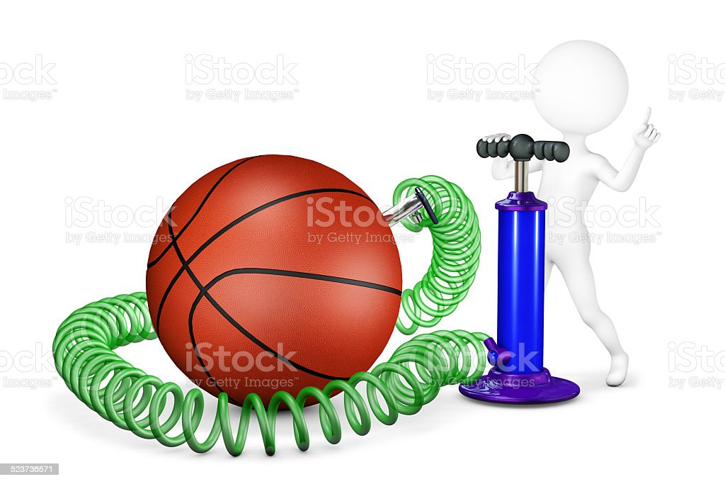 White man pumps a ball for basketball stock photo