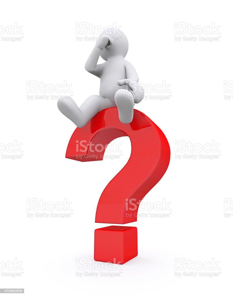 White man with red question mark. stock photo