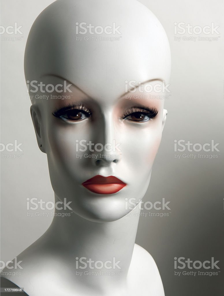 White Mannequin Head with painted facial features royalty-free stock photo