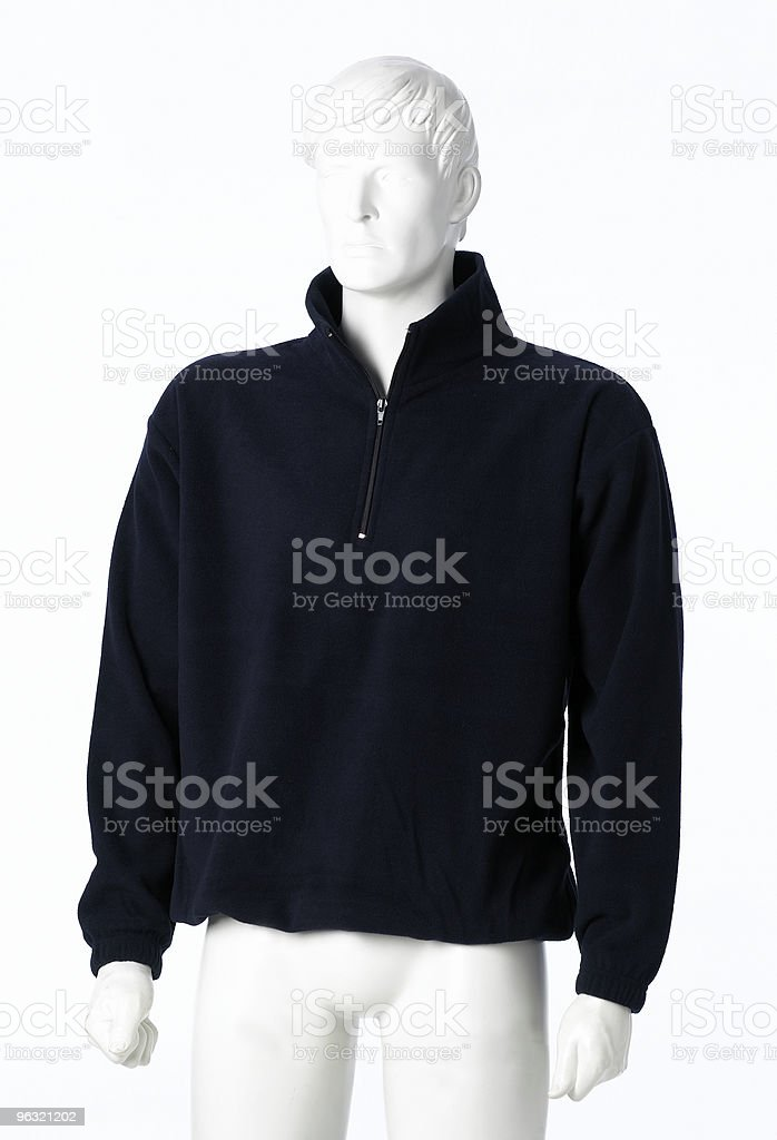 A white mannequin with a black pullover hoodie stock photo