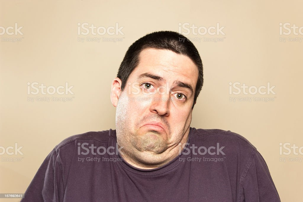 White man's shrugging expression stock photo
