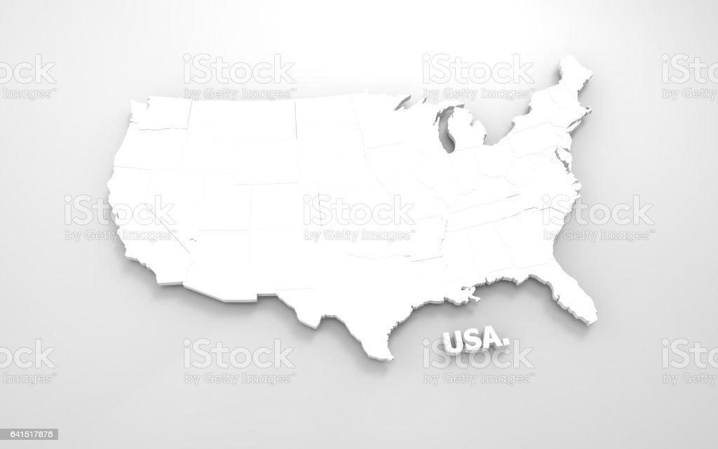 white map of USA stock photo