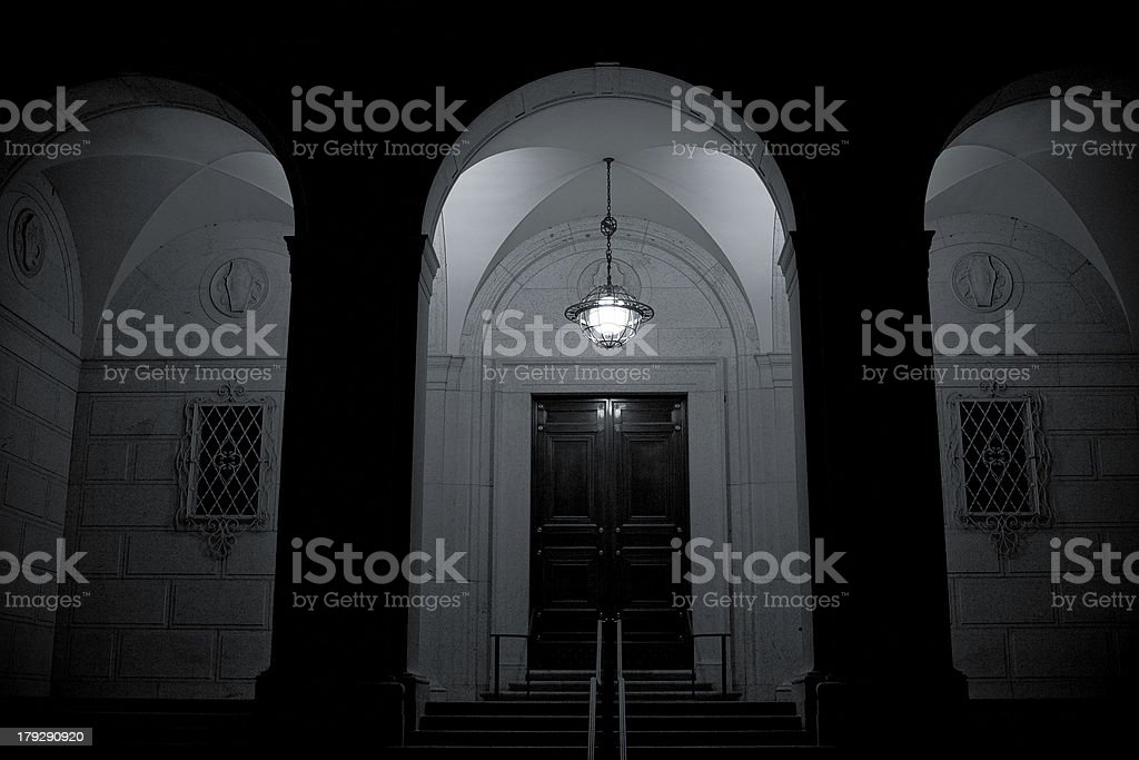 white marble arches at night royalty-free stock photo